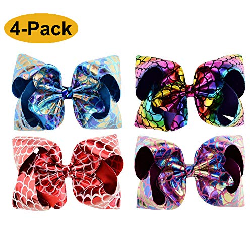 [4-PACK] 8 INCH Large Cute Mermaid Tail Glitter Sparkle Fish Scale Hair Bows Clip Bundle for Girls Toddlers Kids (Mermaid Glitter PU)