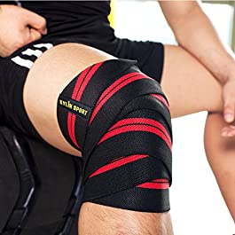 KYLIN SPORT 79″ Knee Wrap (Pair) Elasticated Compression Knee Support for Cross Training WODs Gym Workout Weightlifting Fitness Powerlifting/Man and Woman (Red/Black)