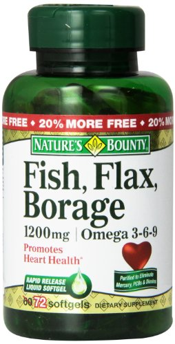 Bounty Omega 3-6-9 poisson lin bourrache 1200mg Softgel de la nature, 72 comte Bouteille