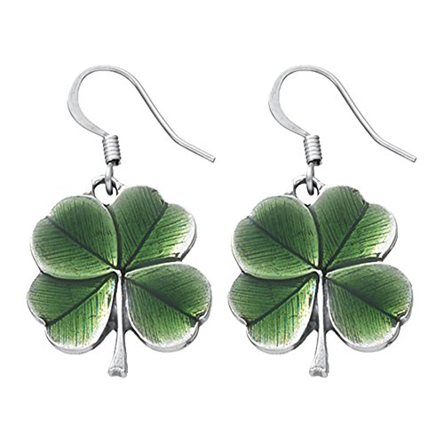 DANFORTH - Clover/Green Earrings - 3/4 Inch - Surgical Steel Wires - Pewter - Handcrafted - Made in USA ()