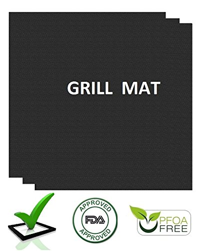 4TopTime Grill Mats (3-Pack) - Non-Stick Baking Mats for Grilling, Oven and Barbecue Use - Kitchen Cooking Accessory - Improved Heat Distribution