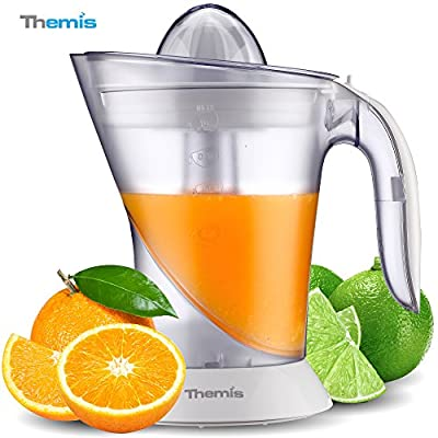 THEMIS CJ3371 Powerful 1 Liter 35-Ounce Whisper-quiet Citrus Juicer, Adjustable Pulp Control, 2 Size Juicing Cones, Electric Orange Juicer, Juice Extractor, White