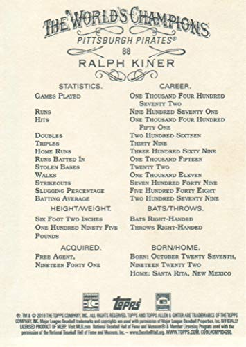 2019 Topps Allen & Ginter Baseball Gold Border #88 Ralph