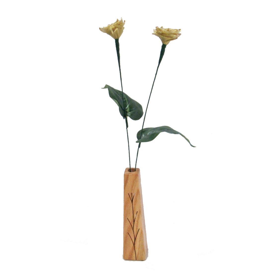 3rd Year Wedding Perfect Present for Wife or Husband 2-Stem Leather Roses with Vase