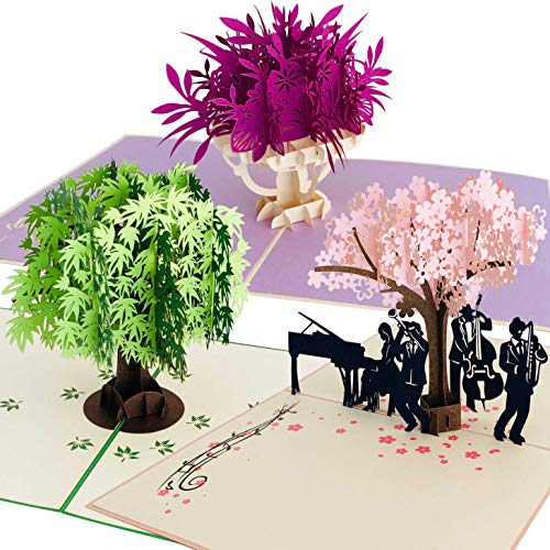 Premium Handmade 3D Pop Up Birthday Card 3 Pack | Greeting Cards for Adults & Happy Birthday Kid's Cards | Full Color Laser Cut Cards for Moms, Dads & Children | Cherry Blossom, Maple Tree, Flower