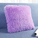 Golden Quality Bedding Super Plush Pillow Faux Fur Soft and Comfy Throw Pillow 18' X 18' (2 Pack) (Lilac)