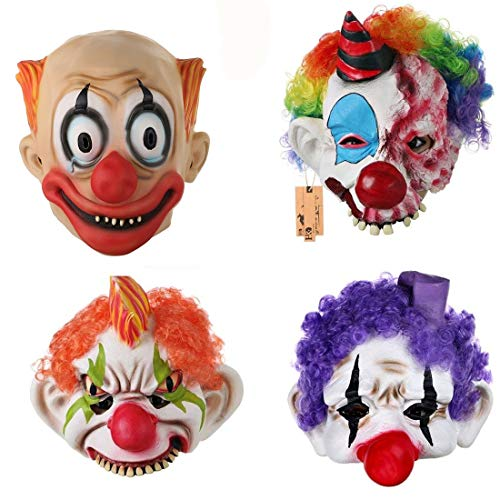 4 pcs Horror Evil Clown Mask Chinless Latex Adult Half Face Mask Scary Head Halloween Prop -