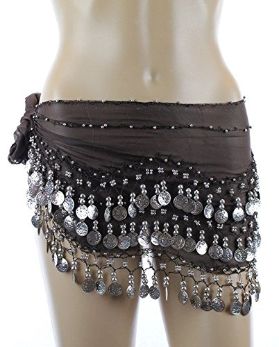 [Belly Dance Hip Scarf, Belly Dancing Skirt Coin Sash Costume with Silver Coins (Brown)] (Scarf Coin Belly Dance Costumes)