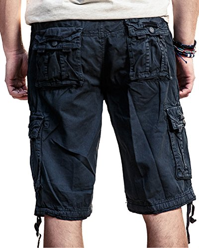 Men's Casual Loose Fit Cargo Shorts, Straight Multi-Pocket Cotton Outdoor Wear Dark Blue Size 34