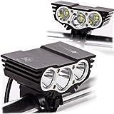 ALED LIGHT®Solarstorm 6600Lm Headlamp Cree x3 Bicycle Bike led Headlight Flashlight Black With 4x18650 Battery Pack 6400Mah (3*T6, Black)