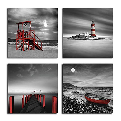 Black and White Beach Wall Art Seascape Red Lighthouse Boardwalk Boat Sunrise Scenery Wall Picture Canvas Prints 4 Panels Set for Bathroom Bedroom Hotel Coffee Bar Beach Wall - Bathroom Art Print