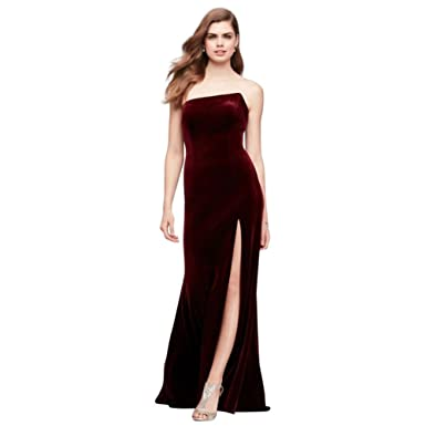 Davids Bridal Stretch Velvet Sheath Prom Dress With Slanted Neckline Style A20144 - Red - 4