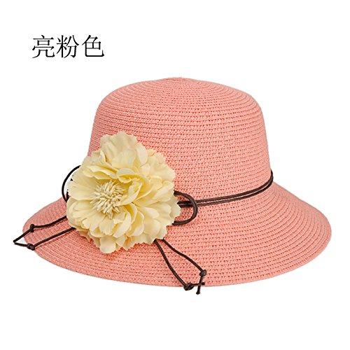 ZHANGYONG*Chapeau de paille stéréo femelle d'été extérieur pare-soleil chapeaux soleil plage le long de la tour de l'écran solaire à grande capitalisation hat ,M, rose clair