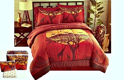 African Safari Giraffe 8pc King Size Comforter, Pillow Shams, Sheet Set and Bedskirt by Safari Home Collection