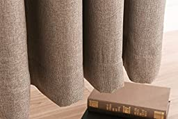 Lullabi Premium Collection, Thermal Tweed, Grasscloth Texture, Room Darkening Window Curtain Drapery, Back Tab, 84-inch Length by 50-inch Width (Khaki,2 Panels)