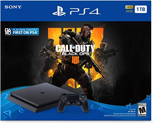 Playstation 4 1TB Call of Duty Black Ops 4 Console Bundle: Call of Duty Black Ops 4 Full Game, Playstation 4 Slim 1TB Gaming Console with Dualshock 4 Wireless Controller