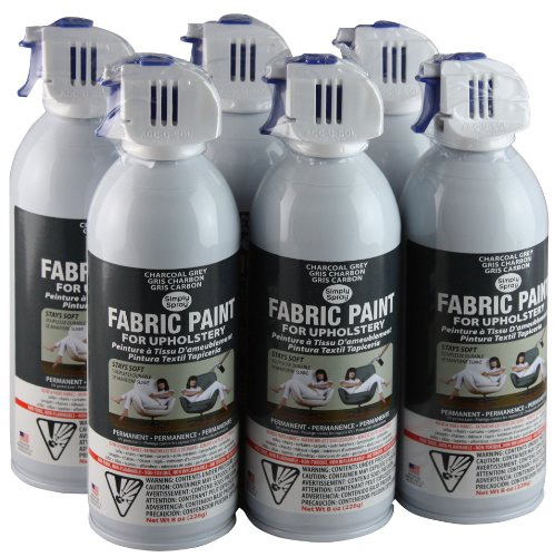 Simply Spray Sp412 Simply Spray Upholstery Fabric Spray Paint 8 Oz Can 6 Pack Charcoal Grey For