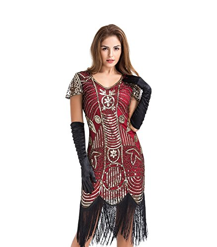 U.mslady Womens 1920s Gatsby Inspired Sequin Fringe V-Neck Embellished Flapper Dress with Short Sleeves Burgundy (Burgundy Embellished)
