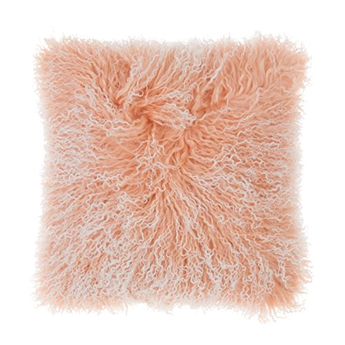 SLPR Two-tone Snow Top Effect Lamb Fur Throw Pillow Cover (24'' x 24'', White/Dusty Rose) | Decorative Mongolian Soft Lush Decorative Cushion Cover Pillow Case for Living Room Bedroom - High Back Microsuede Chair