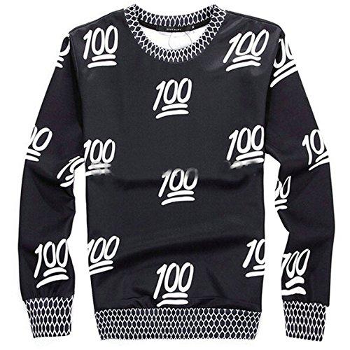Voglee Unisex Hipster Sweaters Emoji 3d Hoodies Sweatshirt (XL, 100Black)