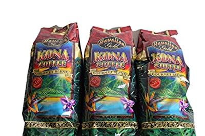 Hawaiian Gold Kona Coffee Gourmet Blend Whole Bean Reserve Estate 1 lb (Pack of 3)