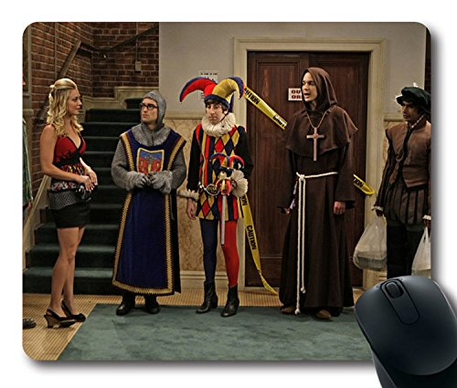 Custom Unique Mouse Pad with The Big Bang Theory Actors Masquerade Party Costume Sheldon Leonard Howard Penny Raj Entrance Non-Slip Neoprene Rubber Standard Size 9 Inch(220mm) X 7 Inch(180mm) X 1/8 Inch(3mm) Desktop Mousepad Laptop Mousepads Comfortable Computer Mouse