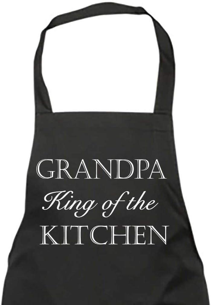 Delantal negro para el abuelo del rey de la cocina, regalo para el día del padre