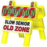 """Amscan Party Mini Old Zone Barricade """"Slow Senior Old Zone"""" Yellow , 4 1/2"""" x 4 1/4"""" plastic"""