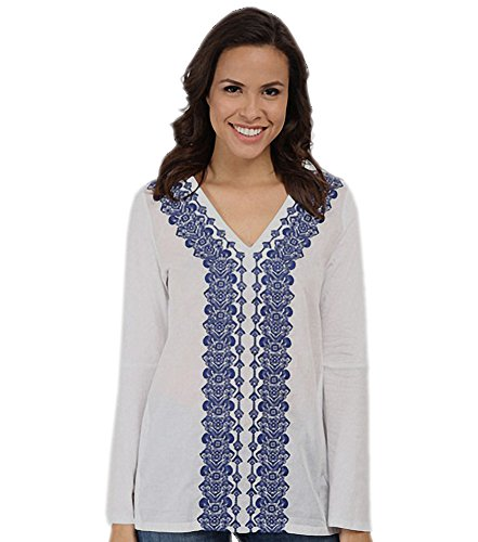 Michael Kors Michael Women's Embroidered Front Flared Sleeve V-Neck Top White Royal Petite Medium PM (Petite Top Embroidered V-neck)