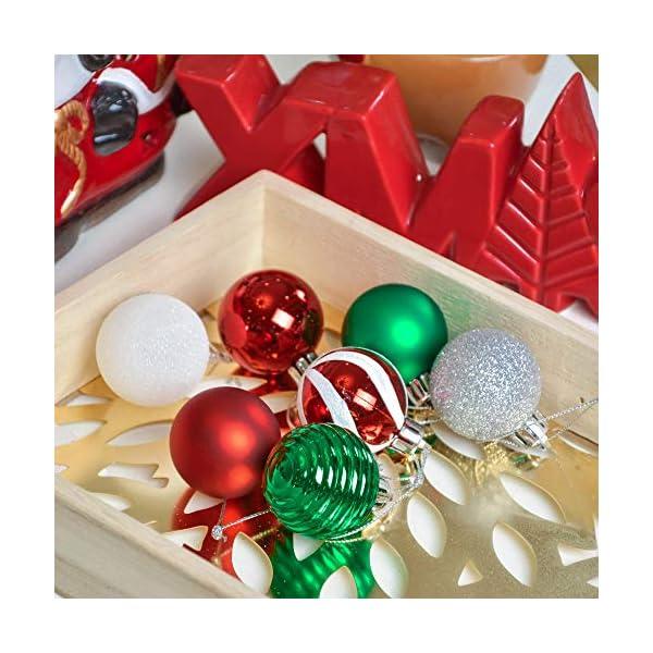 Valery Madelyn Palle di Natale 40 Pezzi 4 cm Palline di Natale, Collezione Classica Essenziale Rosso Verde e Bianco Ornamenti di Palla di Natale Infrangibili di Base per la Decorazione 6 spesavip