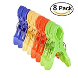 Beach Towel Clips Jumbo Size for Beach Chairs/Pool Lounges/Cruise Plastic Towel Clamp Clip Holder-Keep Your Towel,Clothes,Quilt,Blanket from Blowing Away,Bright Colors Clothes Lines(8 Pack)