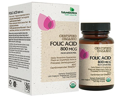Folic Acid Pills (Futurebiotics Folic Acid 800mcg from Organic Lemon Peel USDA Certified Organic, 120 Vegetarian Tablets)