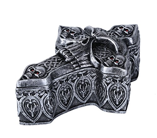 Pacific Giftware Celtic Skull Ossuary Style Cross Shape Coffin Lidded Trinket Box 6.5 inch L