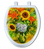 Artisans Seats Decorative Toilet Seats, BRIGHT FLOWERS, Made In America: Elongated