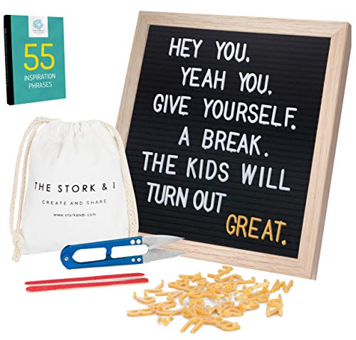 Black Felt Letter Board for Mothers with Oak Frame 10x10 540 White and Gold Letters and Emojis - Perfect Educational Decor and Accessories for Milestone Pictures + Free Gifts- The Stork and I