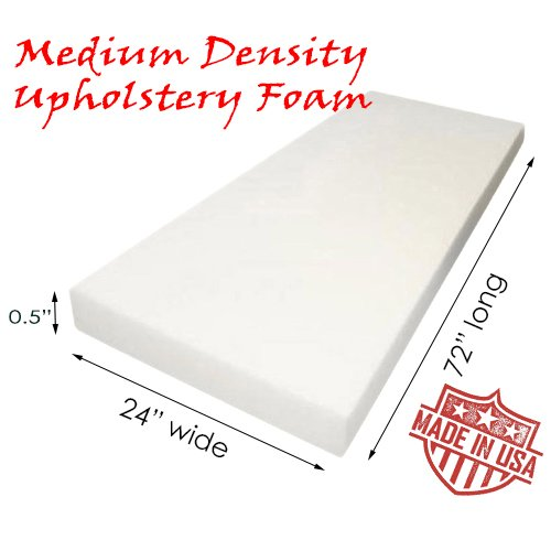AK TRADING Upholstery Foam Medium Density Cushion, (Seat Replacement, Foam Sheet, Foam Padding), 0.5
