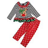 Christmas Outfit Toddler Baby Girls Long Sleeve Shirt Tunic Top Ruffle Pant Holiday Novelty Clothes 2Pc (Deer/Red, 0-1 Years)