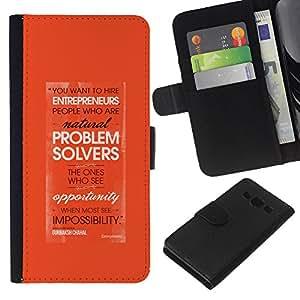Planetar® Modelo colorido cuero carpeta tirón caso cubierta piel Holster Funda protección Samsung Galaxy A3 ( Problem Solving Entrepreneur Orange )