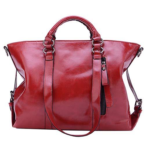 Signature Leather Boston Bag - LUXISDE Women Fashion Oil Leather Locomotive Bag Shoulder Portable Diagonal Bag
