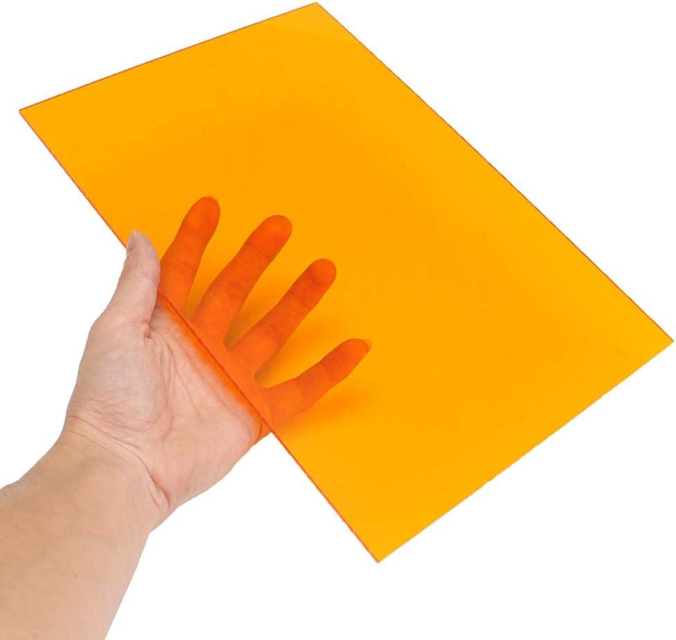 Dumadf Hoja de Color Naranja-Acrílico plexiglás Transparente plástico moldeable Junta Tinted Panel de plástico PMMA, 8 mm de Espesor,300x300mm