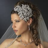 Gemma Vintage Couture Leaves Side Accented Crystal Faceframer Wedding Bridal Tiara Headband