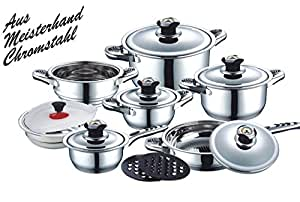 Wellness & Care - Batería de cocina (16 piezas, acero inoxidable, para hornillo de gas, eléctrico, vitrocerámica, halógeno y de inducción)