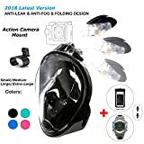 180° Snorkel Mask View for Adults and Youth. Full Face Free Breathing Folding Design.[Free Bonuses] Cell Phone Universal Waterproof Case and 30m Waterproof Watch (Black, Large/X-Large)