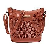 IEason bag, Womens Leather Purse Satchel Cross Body Hollow Out Shoulder Bag Messenger Bag (Coffee)