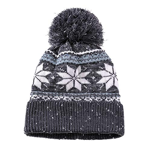 (Dosoni Women Girl Winter Hats Knit Soft Warm Earflap Hood Cozy Large Snowflake Beani (Black Without Braid))