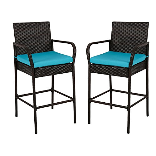 (Peach Tree 2PCs Outdoor Wicker Bar Height Chair Set, All Weather Patio Furniture Rocker Rattan Dining Chiars Barstool High Chairs with Cushions,)