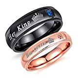 Fashion Ahead 2 pcs Matching Set Couple Rings His Queen and Her King Stainless Steel Promise Rings Engagement Band Valentine's Day Couples Gifts(Men size 10 & Women Size 7)