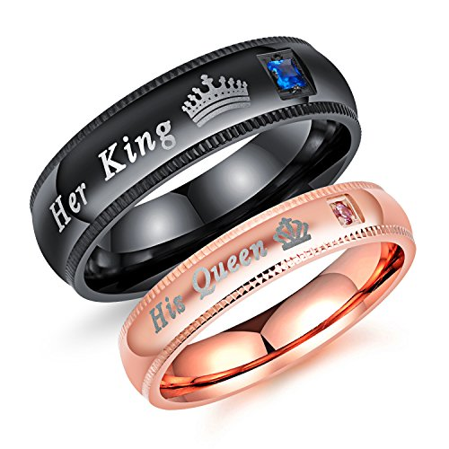 Fashion Ahead 2pcs Matching Set Couple Rings His Queen and Her King Stainless Steel Promise Rings Engagement Band Valentine's Day Couples Gifts (Men Size 11 & Women Size 6)