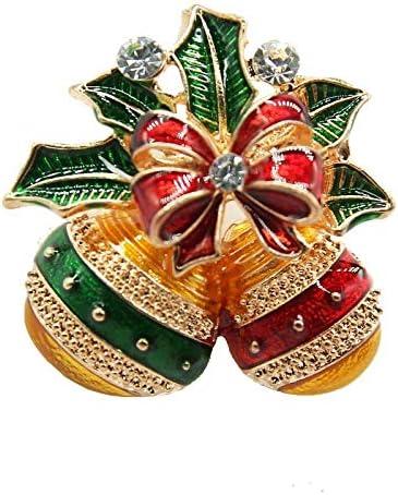 kliy Broschen Multi-Color-Bowknot Mit Bell Weihnachten Broschen Für Frauen Mädchen Emaille Pins Brosche Bow New Year Kids Geschenke