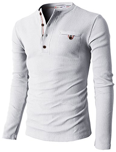 (H2H Mens Casual Slim Fit Henley Shirts with Bound Pocket of Waffle Cotton White US L/Asia XL (KMTTL062))